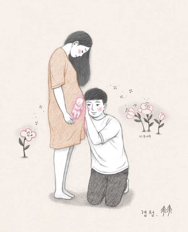 Grafolio Embarazada Caricatura Familia Feliz Dibujo Imagenes De Embarazo