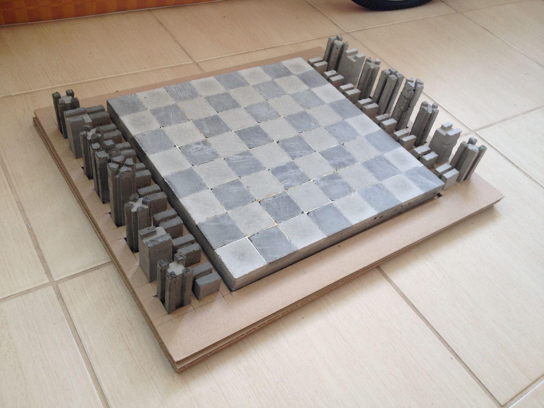 шахматы из бетона