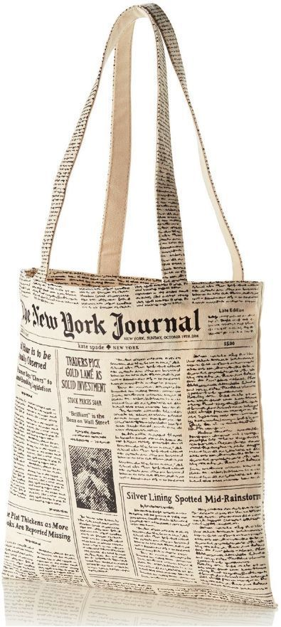 Kate Spade New York Journal Shopping Tote, Newspaper Print, Shopper Tote Bag NEW…