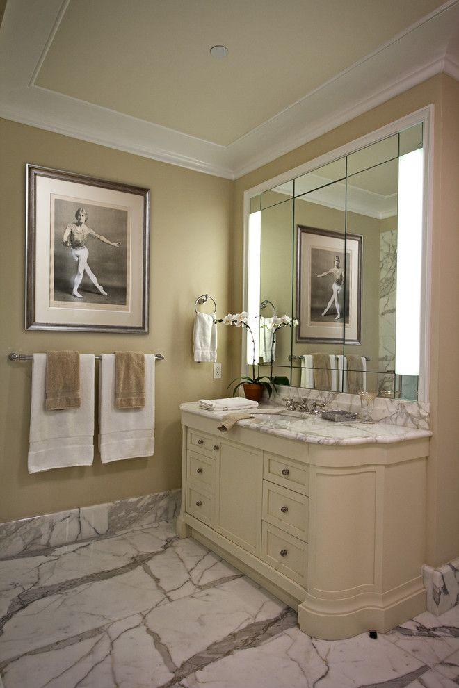 Carrera Marble Bathrooms White Cabinet Countertop Hanging Towel Pleasing Bathroom Crown Molding Review