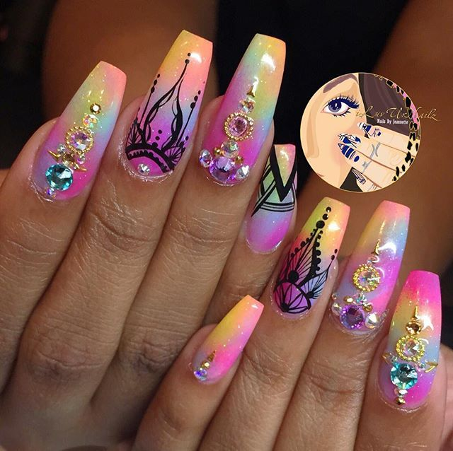 Coffin nails - Ombre'd, Henna, & Swarovski'd Up - This Is A Summer Fav Nails I