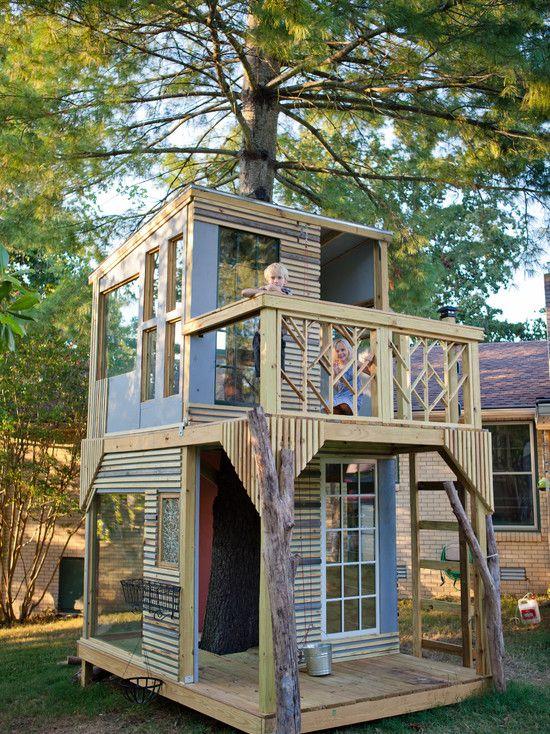 Two Floor Kids Tree House Design Inspiring Diy Backyard Ideas Tree House Kids Tree House Designs Tree House