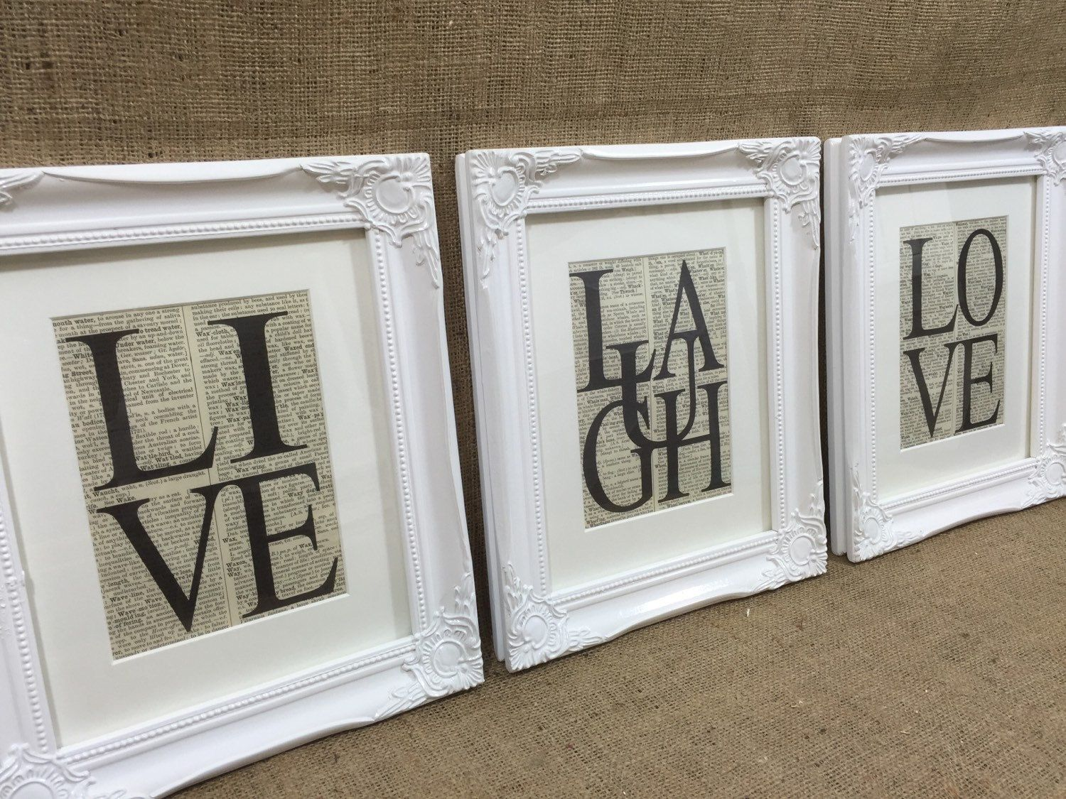 Set of 3 WHiTE 10x12 FRAMEs - LIVE LOVE LAUGH Dictionary Prints ...