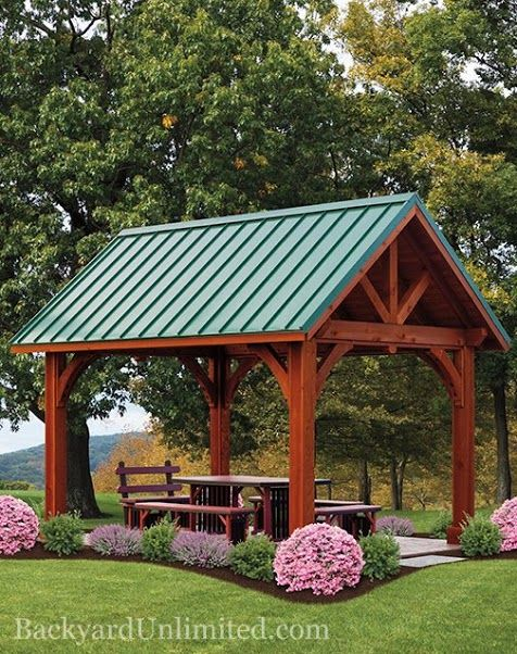 I don 39 t like the green metal roof but i like the way this for Cedar pavilion plans