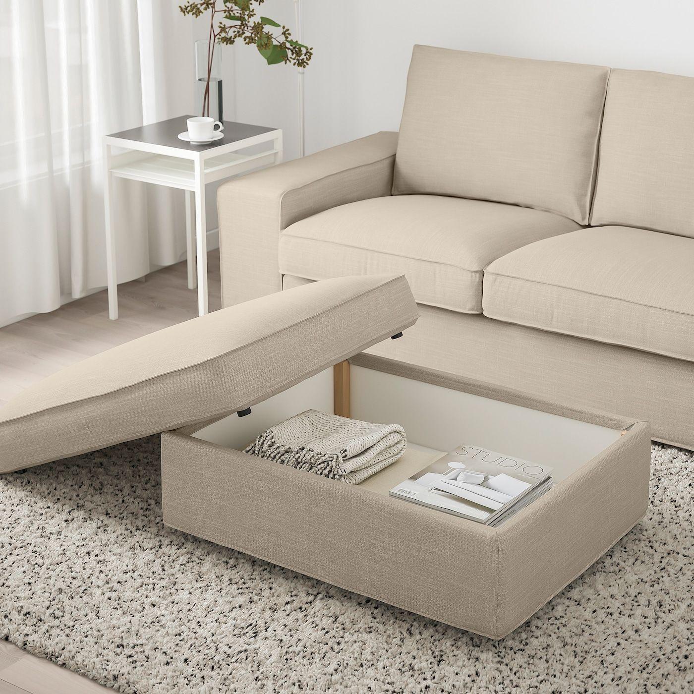 Kivik Footstool With Storage Hillared Beige Ikea In 2020 Storage Footstool Storage Ottoman Ikea Kivik