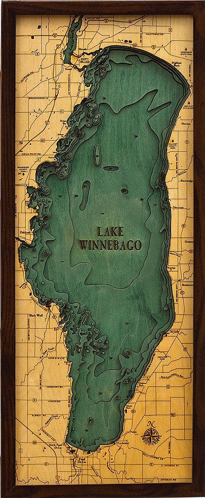 LAKE WINNEBAGO Wisconsin X LaserCut Dimensional - Wisconsin topographic lake maps