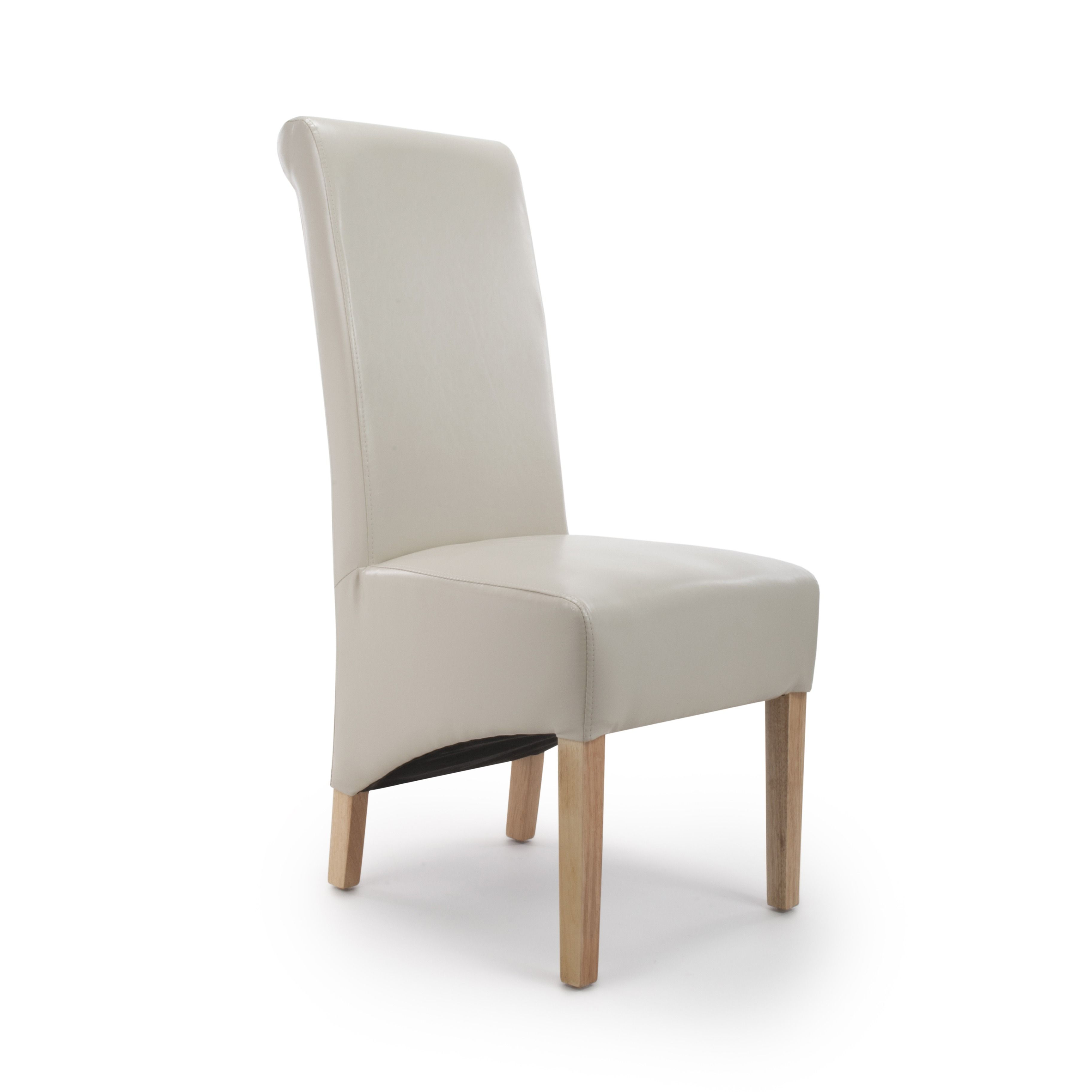 Krista Ivory Cream Leather Dining Chairs Leather Dining