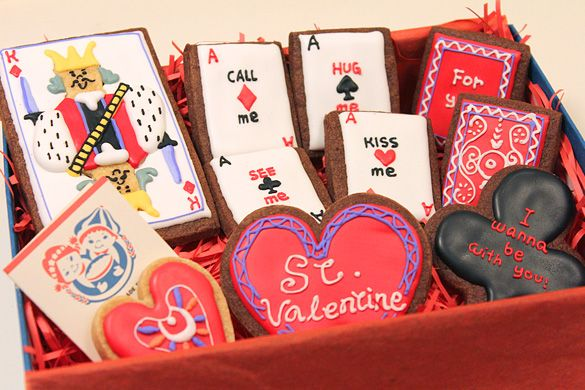 card motif sugar cookies for valentine's day