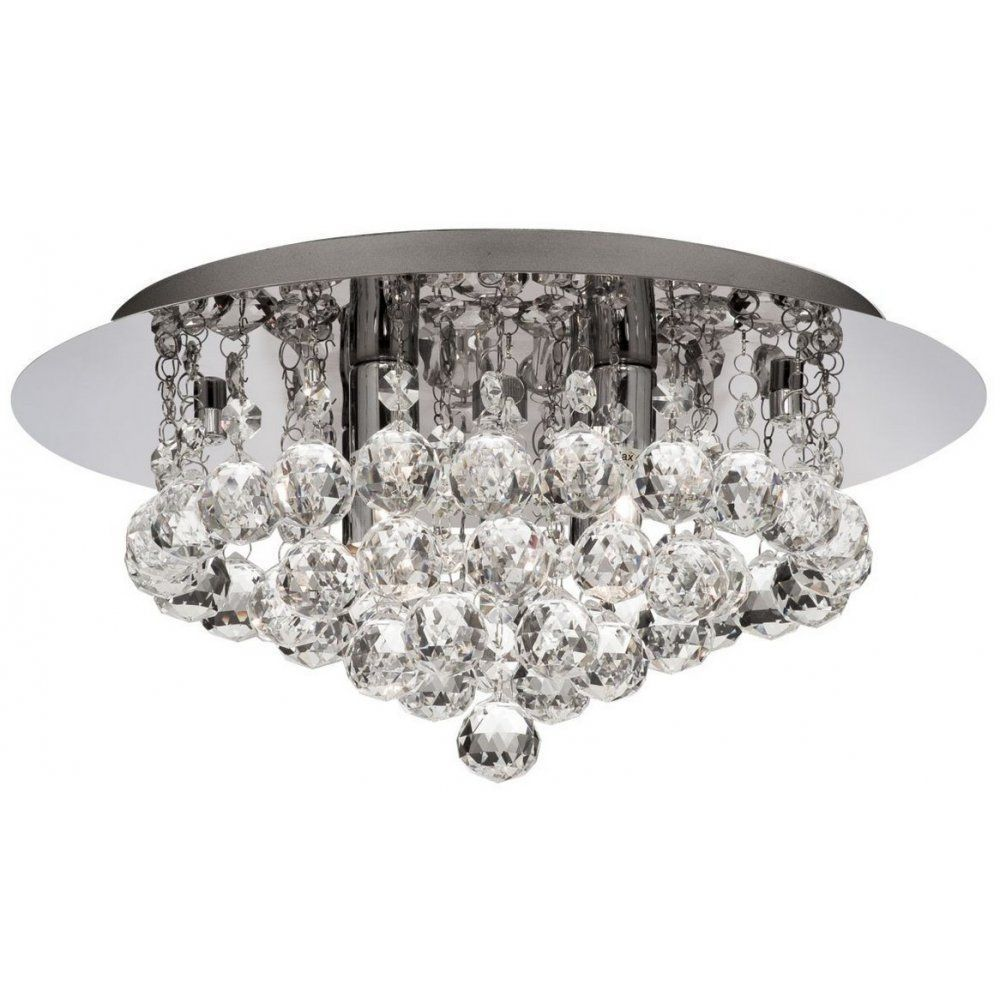 Searchlight 4404 4CC Hanna Modern Crystal Flush Bathroom Ceiling Light IP44 Beautiful Lighting For
