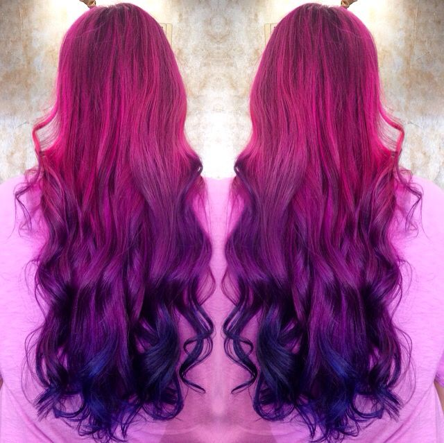 Magenta, Violet, Navy Color Melt using Goldwell Elumen ...