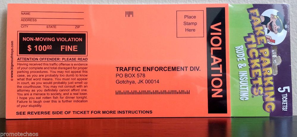 FAKE PARKING TICKET VIOLATION Funny Joke Gag Gift New Sealed Rude Insulting Fine ***FREE U.S. SHIPPING***
