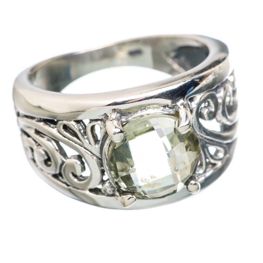 Faceted Green Amethyst 925 Sterling Silver Ring Size 7 RING756211