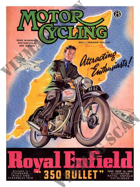VINTAGE ADVERTISEMENT A3 REPRINT FOR ROYAL ENFIELD MOTOR CYCLES MOTORBIKES