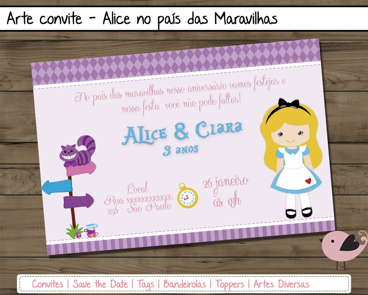 Arte Digital - Convite Alice