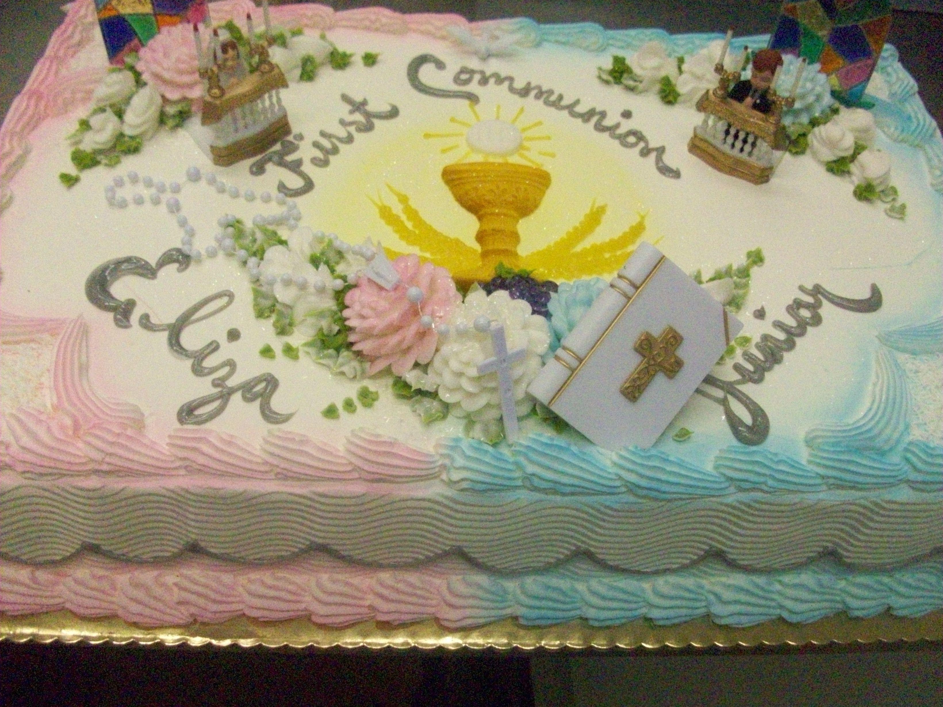 Calumet Bakery Boy And Girl Kneeling With Chalice Baptism Cake Christening Cake Christening