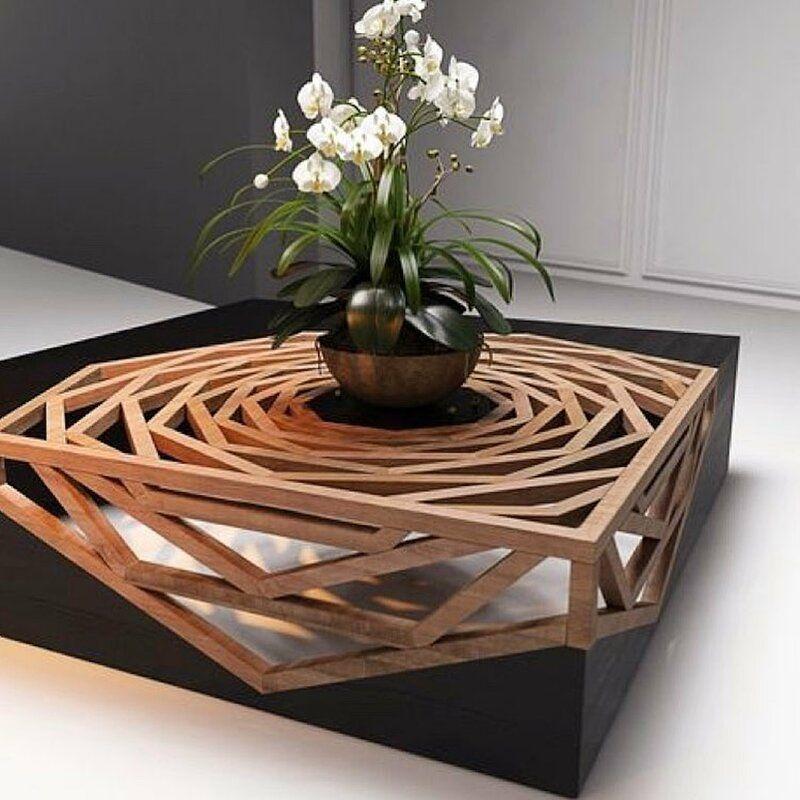 Hanako solid wood abstract coffee table coffee table