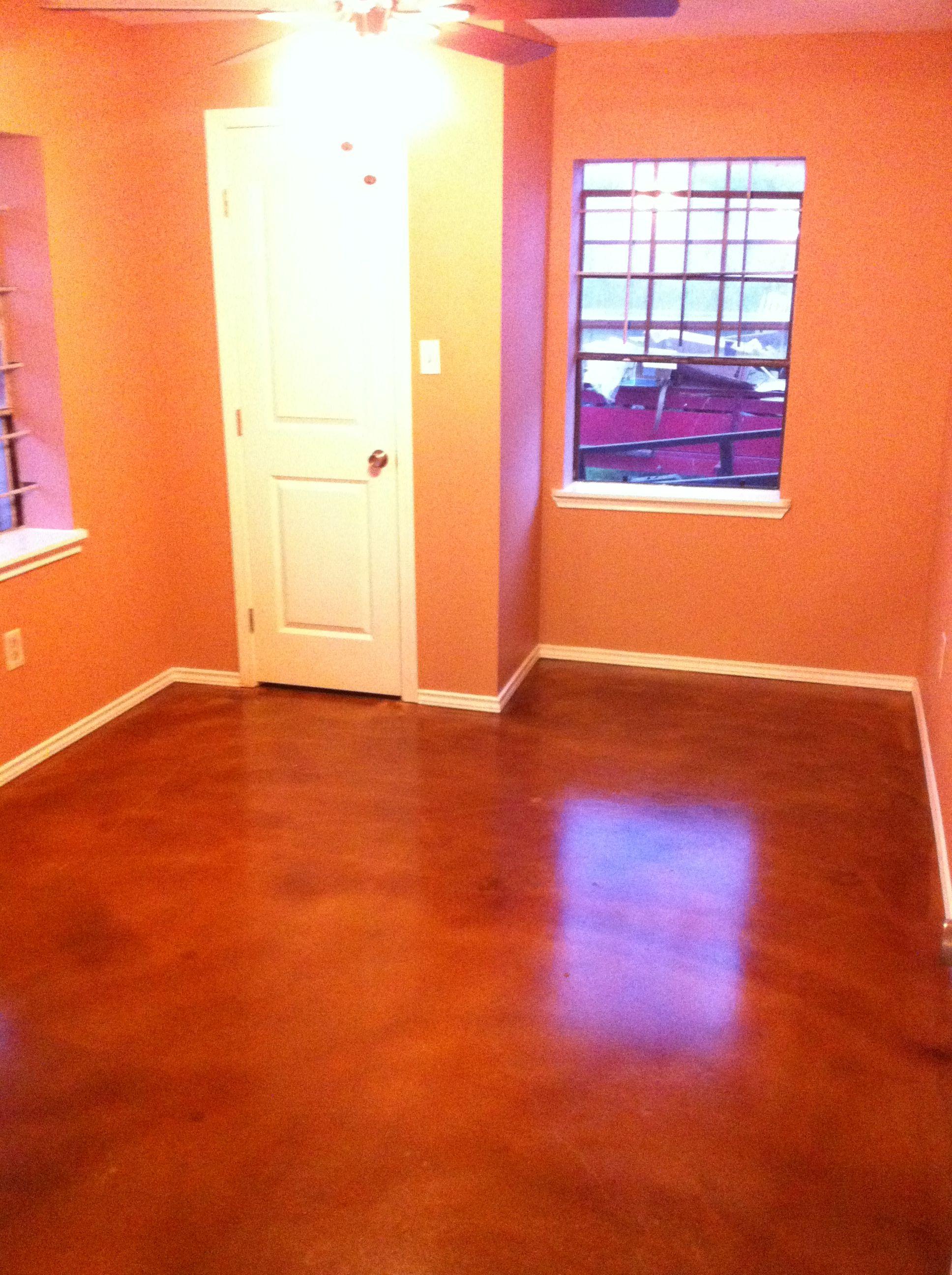 Bedroom with concrete stain Basement flooring waterproof