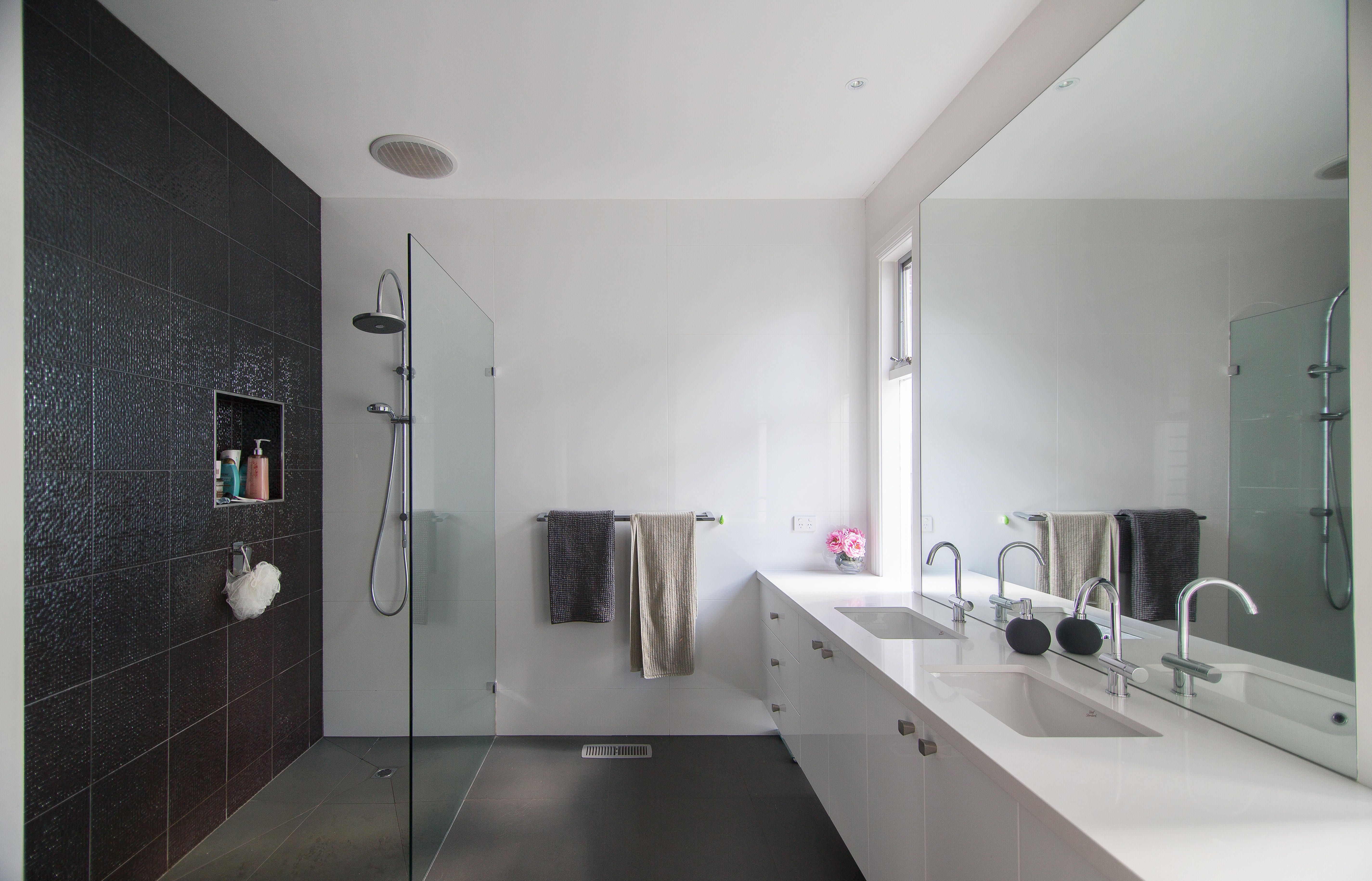 En-suite with in situ shower and double basin #ensuite #bathroom ...