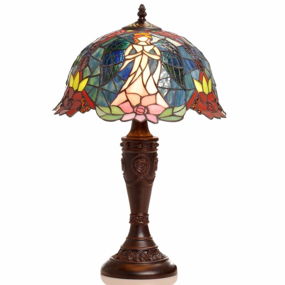 Tiffany Style Handcrafted Stain Glass Angel Table Lamp #Tiffany  #StainedGlass
