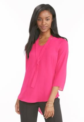 af054deeb8c Cato Fashions V-Neck Bow Blouse-Plus #CatoFashions | Prissy in pink ...