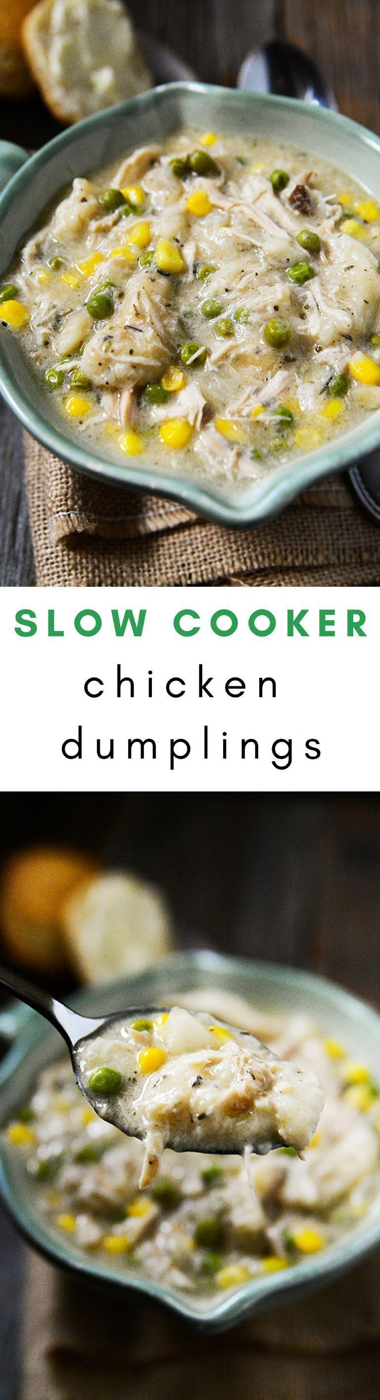 A warm, comforting recipe for Chicken & Dumplings that you can make low and slow in your Crock-Pot slow cooker. A meal full of tender chicken, peas, corn, and dumplings! #chickenenchiladas #chickendumplingscrockpot A warm, comforting recipe for Chicken & Dumplings that you can make low and slow in your Crock-Pot slow cooker. A meal full of tender chicken, peas, corn, and dumplings! #chickenenchiladas #chickendumplingscrockpot A warm, comforting recipe for Chicken & Dumplings that you can make lo #chickendumplingscrockpot