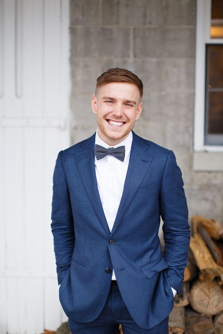 navy wedding suit bow tie