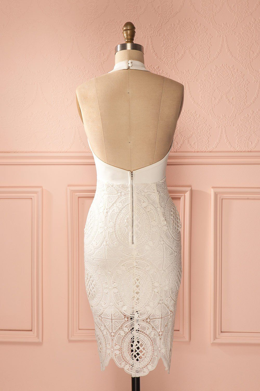 Azylis Jour - Off-white fitted lace halter dress
