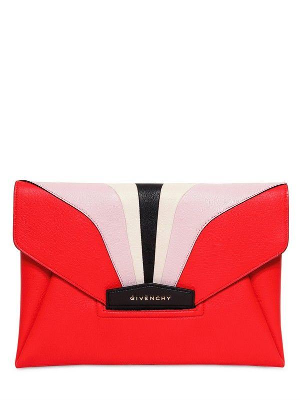 GIVENCHY Red Antigona Architect Leather Clutch  2a716989cf504