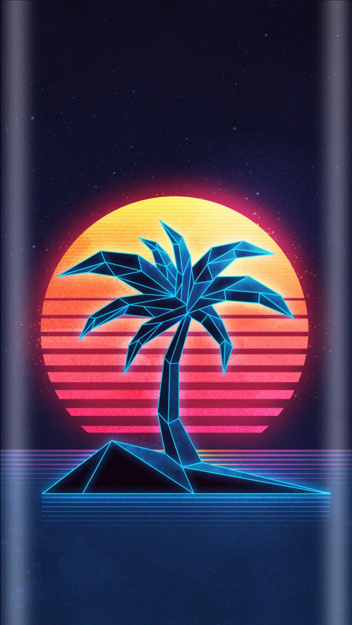 Island Palm Tree Wallpaper Vaporwave wallpaper, Retro