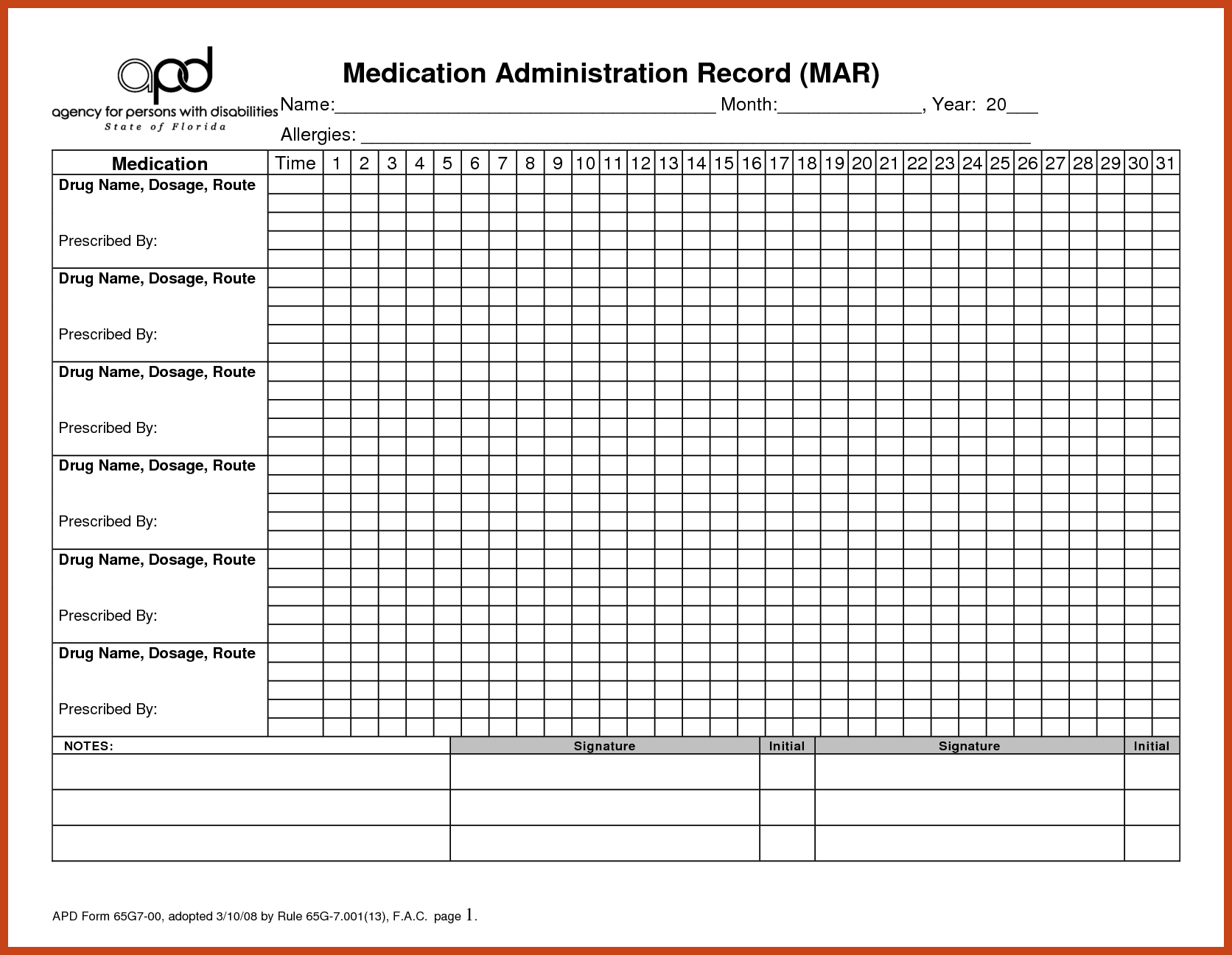 Medication Administration Record Printable Medication