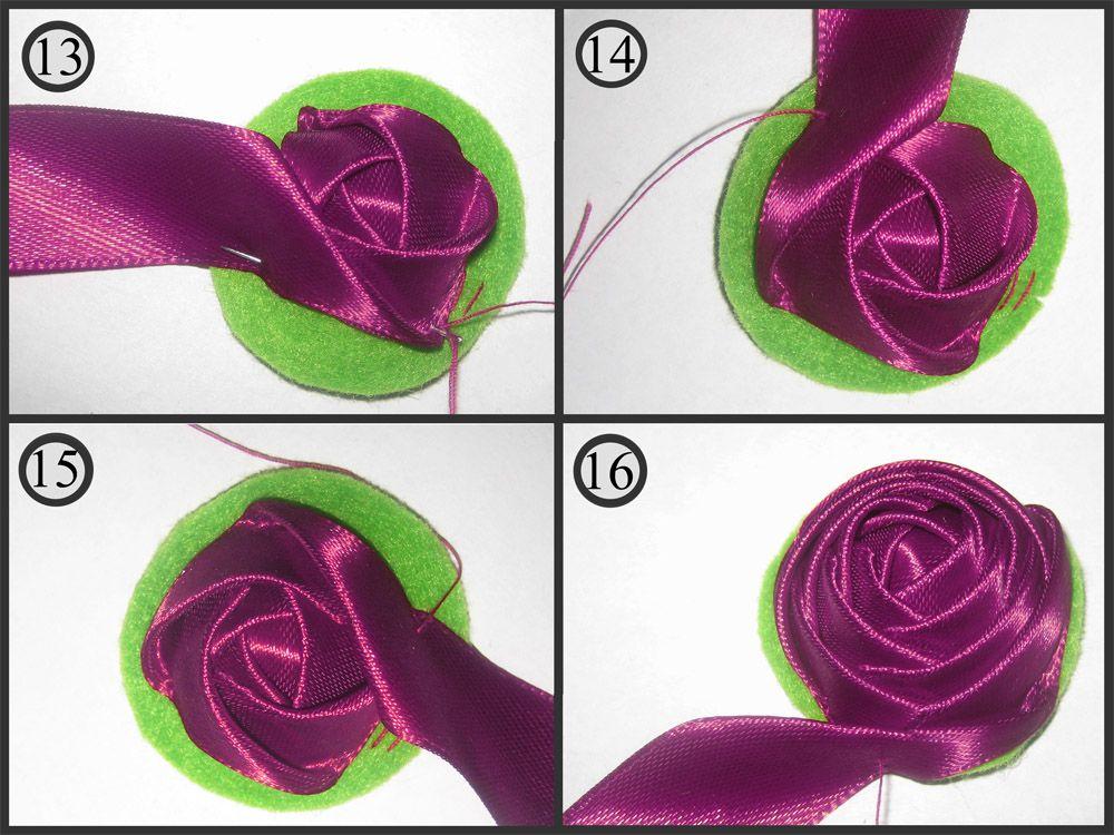 Цветок из атласной ленты фото пошагово