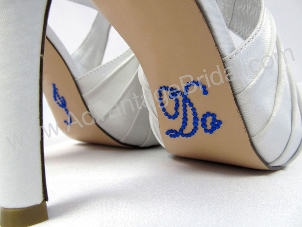 ROYAL BLUE SCRIPT Crystal I DO Wedding Shoe Decal Stickers for Bridal Shoes in Bridal Shoes   eBay