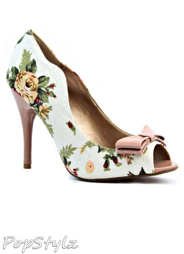Qupid Fabric Peep Toe Floral Stiletto Pumps