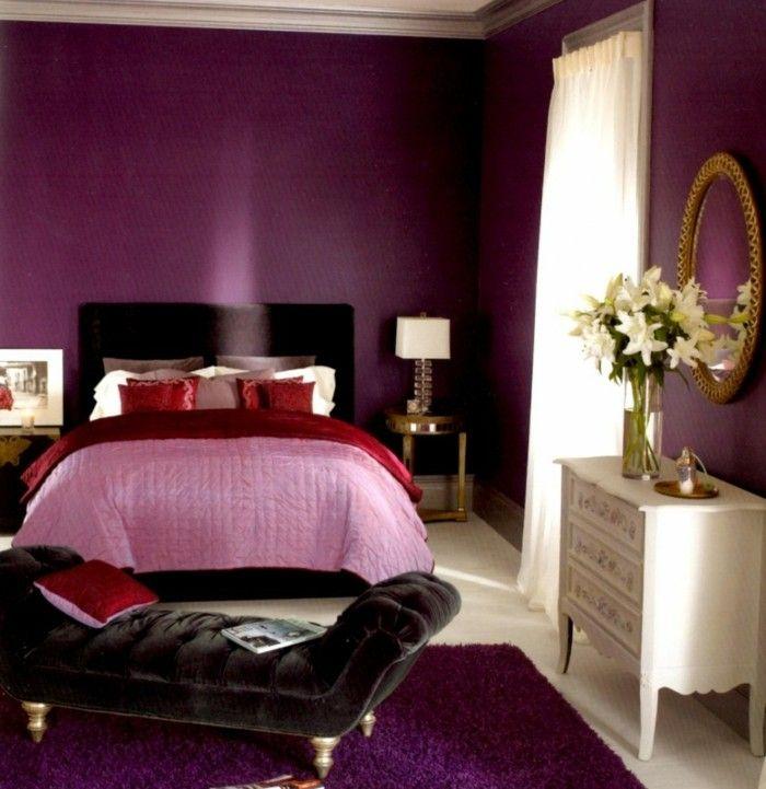 Lila Nuancen   Romantisches Schlafzimmer Gestaltung   Wandfarben Ideen