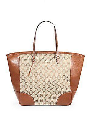 20f732593f4 Gucci Brown Bree Original Gg Canvas Leather Tote Handbag New ...