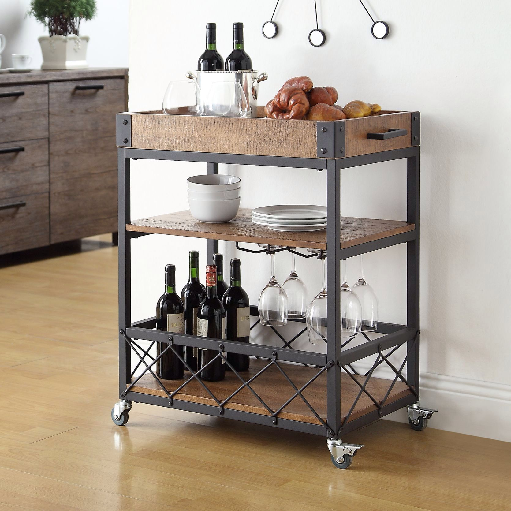 Kitchen cart metal - Myra Rustic Mobile Kitchen Bar Serving Cart Wood And Metal Rolling Serving Cart You Can Get More Details By Clicking On The Image