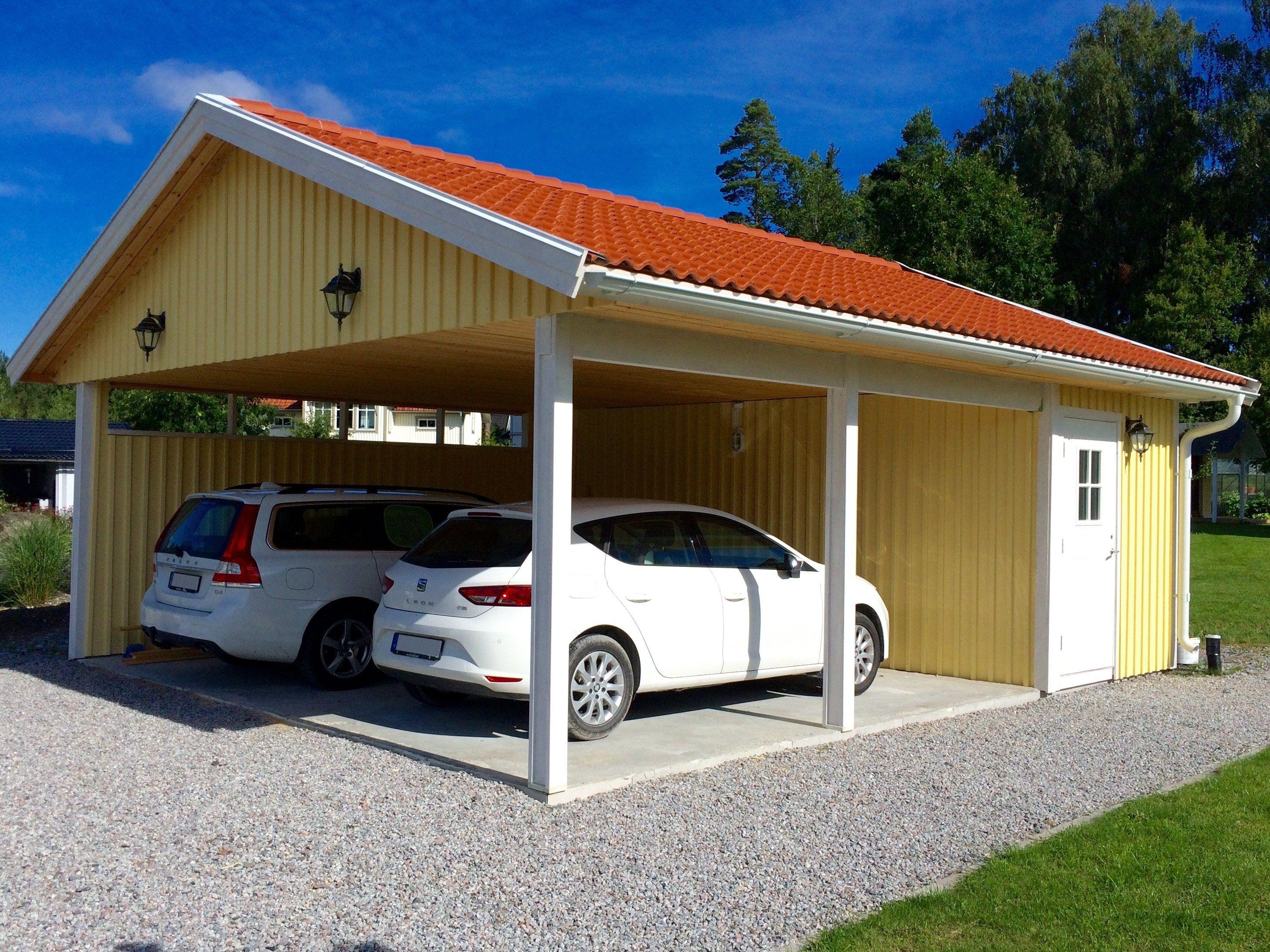 Carport För Två Bilar Och Förråd Carport Husritningar Hus Exteriör