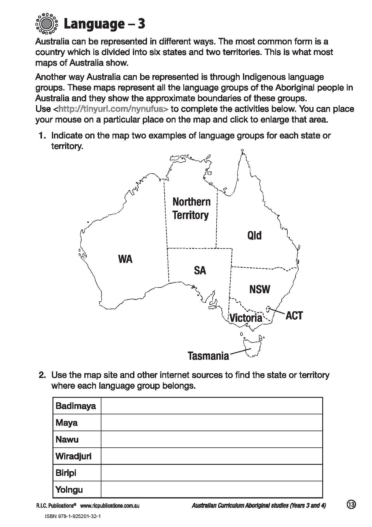 Australian Aboriginal Languages Activity Free