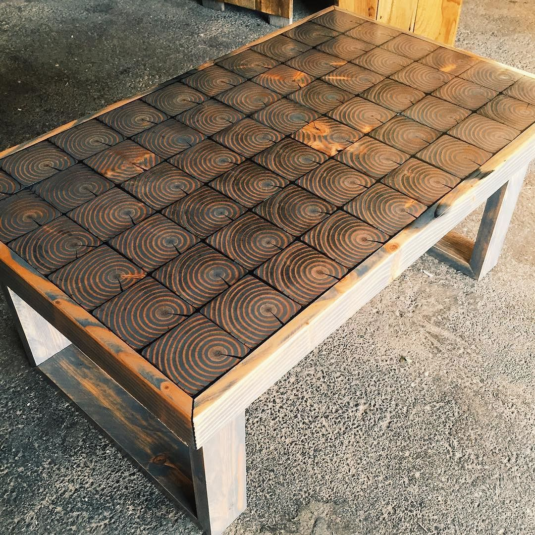End cut grain  grey stain  and black resin fills. END GRAIN COFFEE TABLE   DIY  FURNITURE    Pinterest   Coffee
