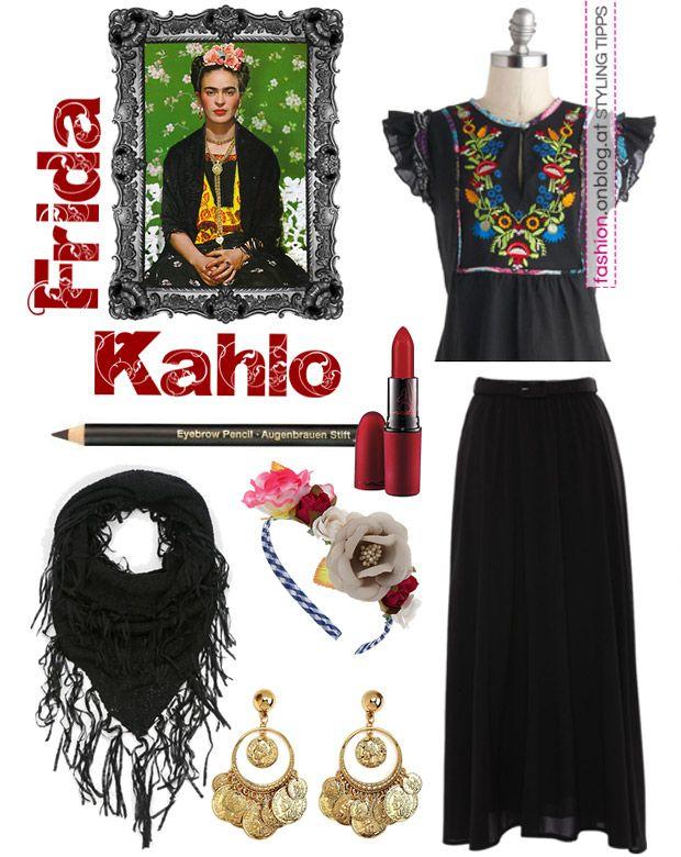 Diy karnevalskost me kost me f r den karneval oder faschingskost me selber machen frida kahlo - Deguisement frida kahlo ...