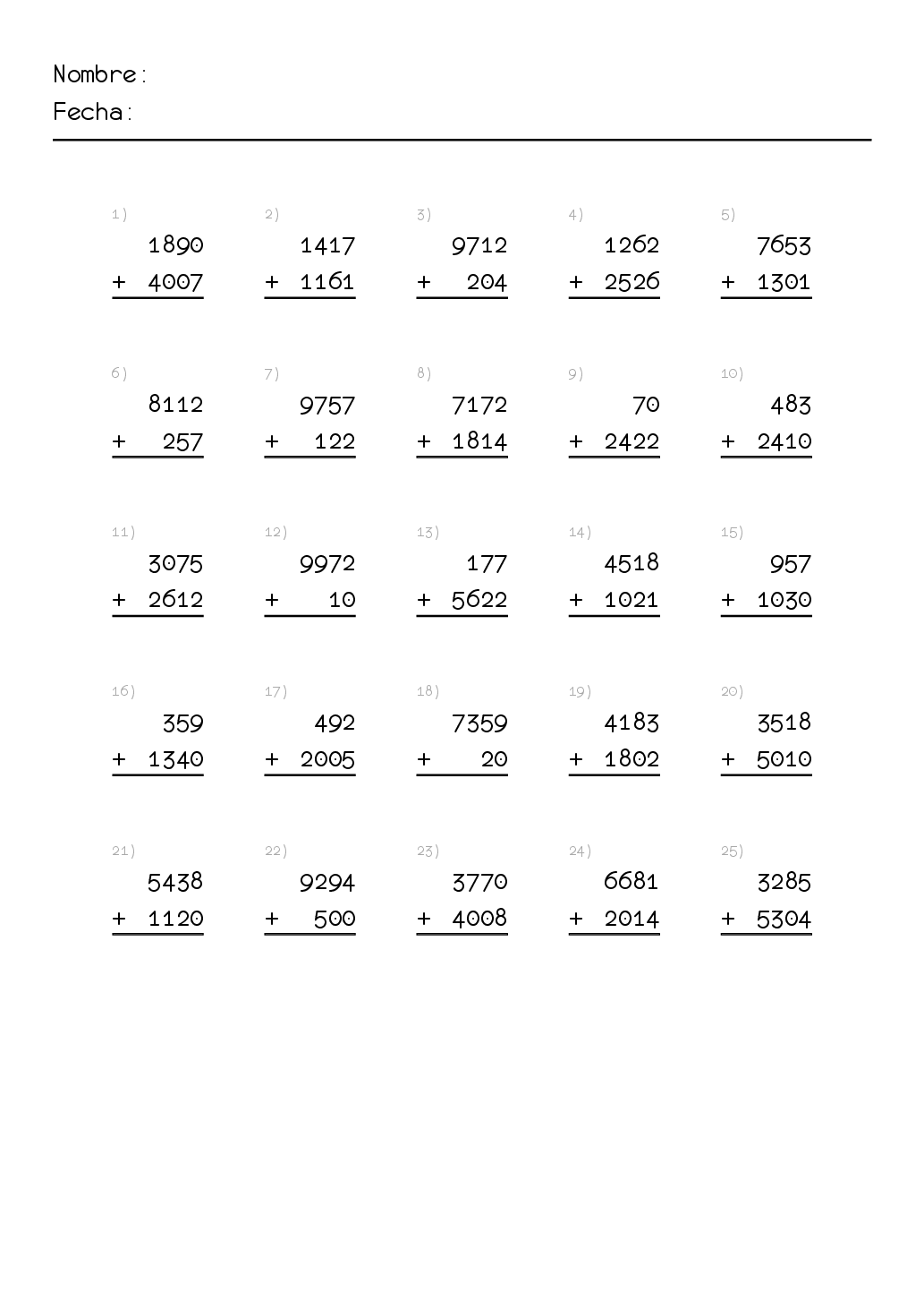Matematicas para primaria ejercicios. Sumas. Para imprimir ...