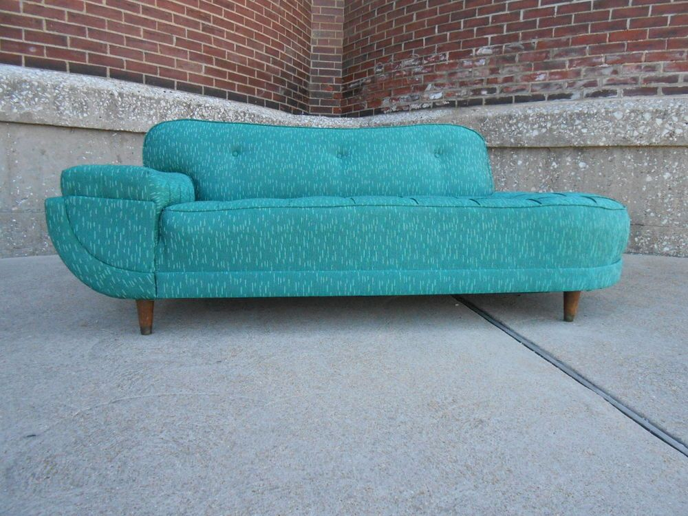 Vintage 1950u0027s Mid Century Modern One Arm Atomic Biomorphic Shape Sofa Couch  #Unknown
