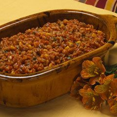 Hearty Spanish Rice With Vegetable Oil, Onions, Regular Or Convert Rice, Garlic, Water, Knorr Chicken Flavor Bouillon, Ragu Old World Style Sweet Tomato Basil Pasta Sauc, Frozen Whole Kernel Corn, Chili Powder, Chopped Fresh Cilantro