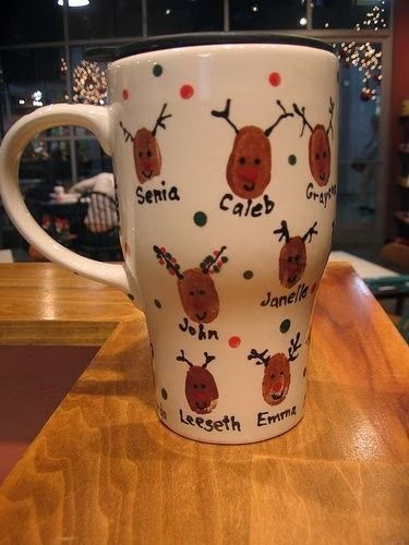 Dishwasher Safe Reindeer Thumbprint Mugs Diy Christmas Gifts