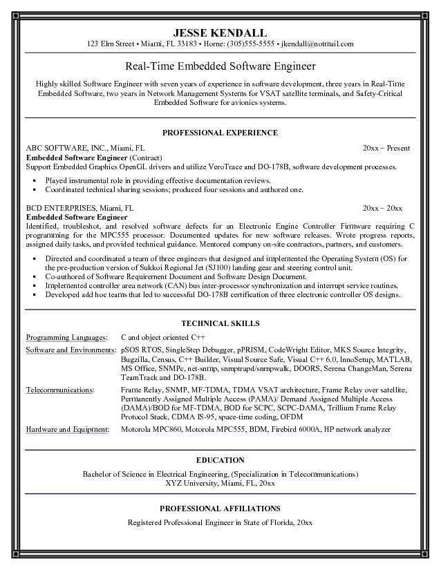 roles and responsibilities of software engineer resume