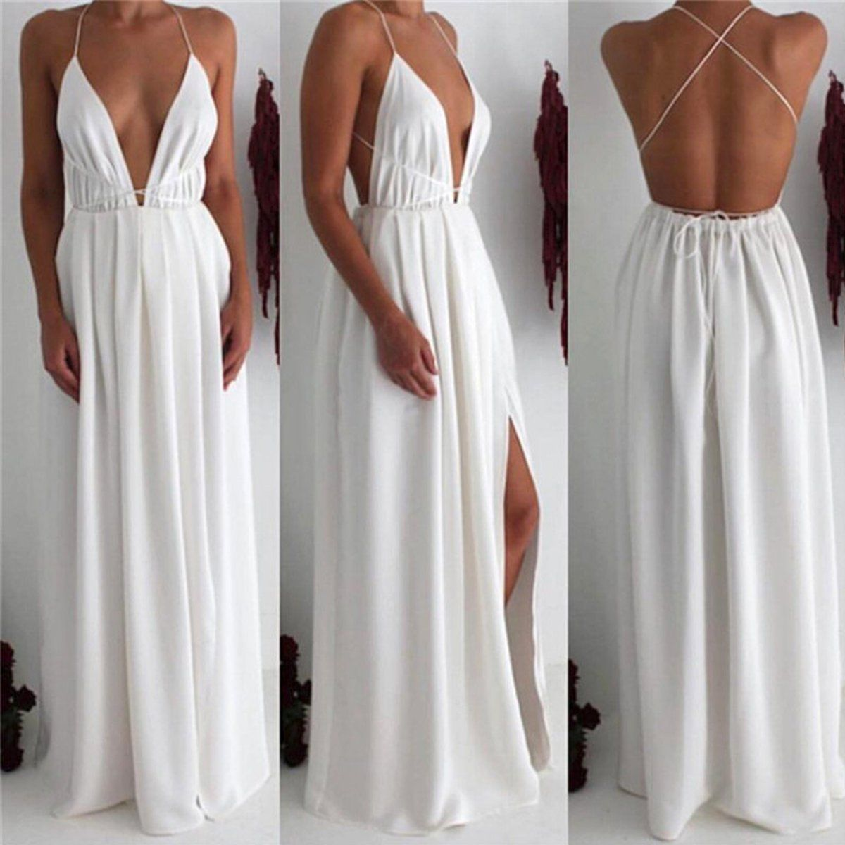 Charming white chiffon prom dresssexy cross back party dressdeep v