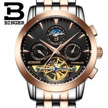 b2766a8e196 2016 suíça mecânico BINGER marca watche dos homens de luxo de pulso relógios  de pulso safira cheio de aço inoxidável B1188-6(China (Mainland))