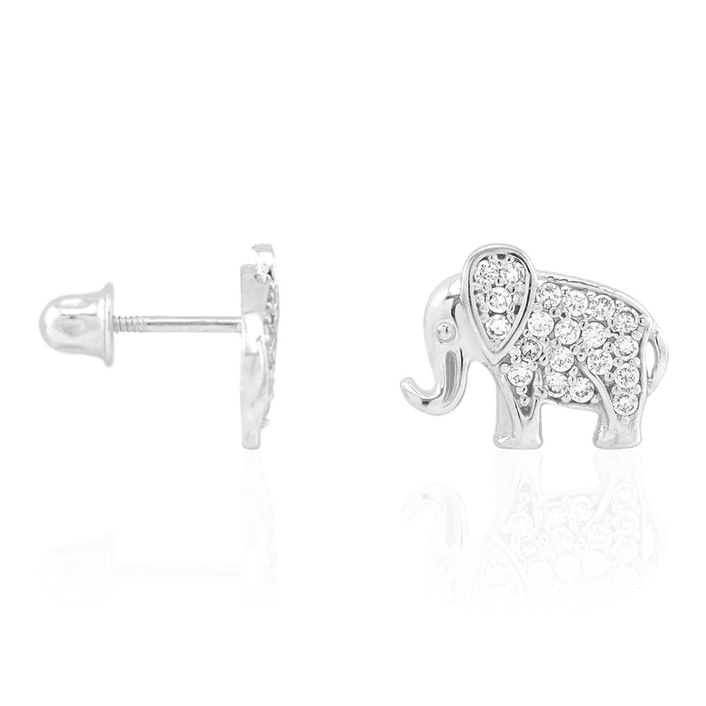 14K Solid Yellow Gold Round Cut Emerald Elephant Baby Screwback Stud Earrings
