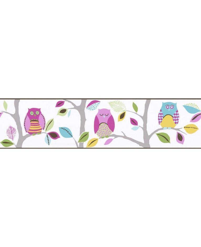 Bright Owls Self Adhesive Wallpaper Border Self adhesive