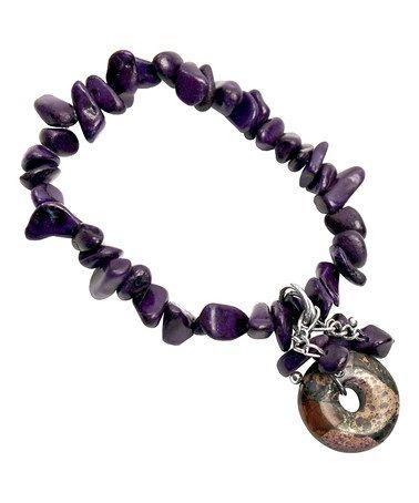 Another great find on #zulily! Purple Stone Stretch Bracelet #zulilyfinds